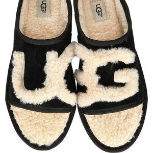 UGG Slide Slippers Sheepskin Black NEW IN BOX